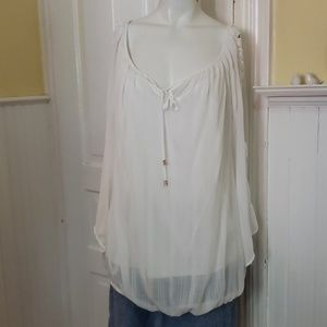 AGB white blouse with crochet sleeves size 2x